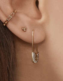 Fashion Rhinestone Safety Pin Earrings