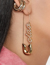 Fashion Gold + Pearl English Safety Pin Earrings Hairpin