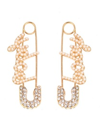 Fashion Rhinestone + Pearl English Safety Pin Earrings Hairpin