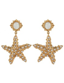 Fashion White Starfish Pearl Earrings