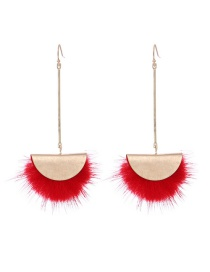 Fashion Red Hair Ball Gold-plated Earrings