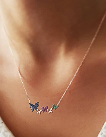 Fashion Color Crystal Bow Necklace