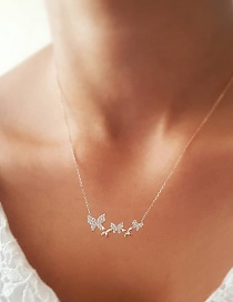 Fashion Gold Crystal Bow Necklace