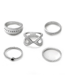Fashion Silver Moon Star Ring 5 Piece Set