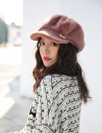 Fashion Coffee Color Velvet Octagonal Cap