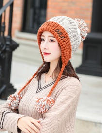 Fashion Orange Color Matching Hair Ball Knitted Wool Cap