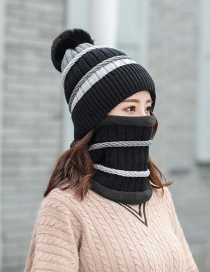 Fashion Black Color Matching Knitted Wool Cap Bib Two-piece