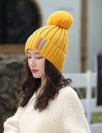 Fashion Yellow Contrast Striped Knit Wool Hat