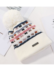 Fashion White Color Matching Knitted Wool Ball Cap