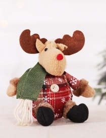 Fashion Snowflake Lattice Sitting Posture Deer Doll Snowflake Plaid Doll Christmas Tree Ornament