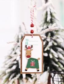 Fashion Elk Wood Sign Pendant Christmas Tree Pendant