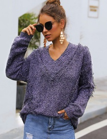Fashion Purple Peach Heart Collar Tassel Sweater