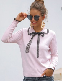 Fashion Pink Lapel Lace Sleeve Bow Sweater