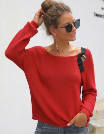 Fashion Red Off-the-shoulder Round Neck Tie Short Knit Sweater