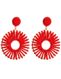 Fashion Red Round Openwork Alloy Rice Earrings  Alloy