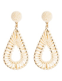 Fashion White Alloy Hollow Drop-shaped Rice Earrings  Alloy
