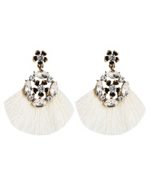 Fashion White Multilayer Alloy Acrylic Diamond Floral Tassel Earrings  Alloy