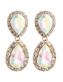 Fashion Ab Color Multi-layer Drop-shaped Acrylic Diamond Earrings