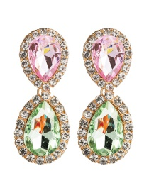 Fashion Pink Green Multi-layer Drop-shaped Acrylic Diamond Earrings