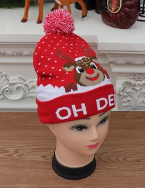 Fashion Knit Cap Christmas [letter Deer] Colorful Shiny Knit Hat