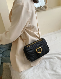 Fashion Black Heart-shaped Magnetic Buckle Chain Shoulder Messenger Bag