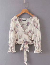 Fashion Beige Print Double Fabric Printed Chiffon V-neck Lace-up Shirt