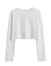 Fashion White Embroidered Crew Neck Short T-shirt