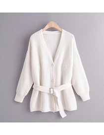 Fashion White Solid Color Single-breasted Belt Stitching Sweater