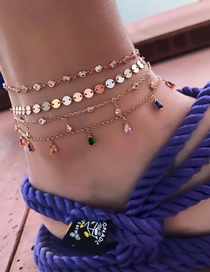 Fashion Gold Alloy Disc Color Rhinestone 4 Layer Anklet