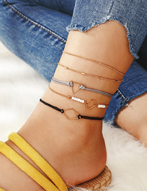 Fashion Gold Line Woven Alloy Geometric Rice Beads Triangle Anklet 5 Sets