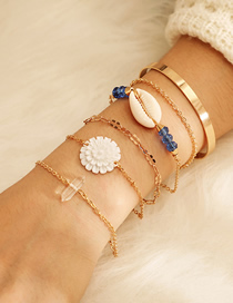 Fashion Gold Alloy Chain Rice Beads Flower Shell Bracelet 6 Layer Set