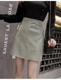 Fashion Green Solid Color Pu Leather Skirt