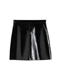Fashion Black Solid Color Pu Leather Skirt