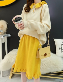 Fashion Yellow Contrast Ruffled Sweater Skirt Two-piece Suit