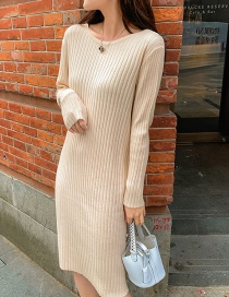 Fashion Beige Round Neck Knit Pit Long Sweater