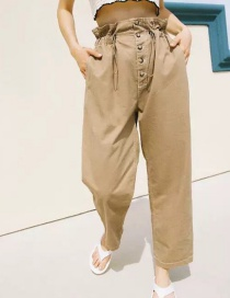 Fashion Khaki Drawstring Flower Pants