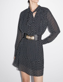 Fashion Black Polka Dot Pleated Dress