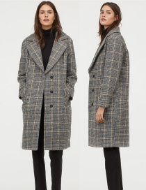 Fashion Lattice Plaid Wool Coat