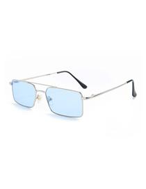 Fashion Silver Frame Light Blue Square Double Beam Sunglasses