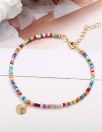 Fashion Gold Beaded Alloy Scallop Anklet