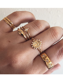 Fashion Gold Patterned Drilled Lady's Stacked Ring Set Of 7