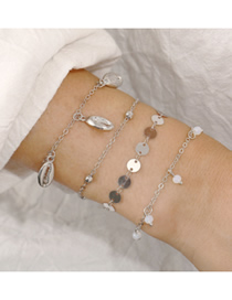 Fashion Silver Rice Beads Round Metal Shell Anklet 4 Piece Set