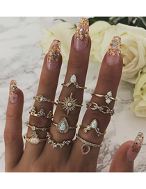 Fashion Gold Six-pointed Star Drop-shaped Chain Point Drill Ring 12 Piece Set