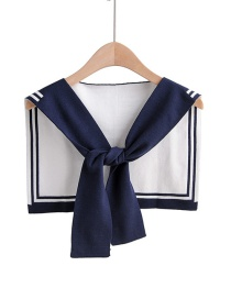 Fashion Navy Fake Collar Knotted Double-knit Shawl