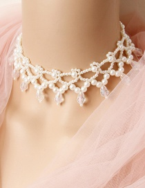 Fashion White Woven Drop Pearl Necklace