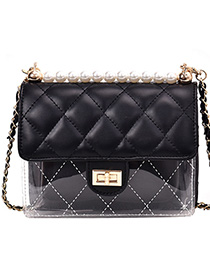 Fashion Black Grids Pattern Shoulder Bag
