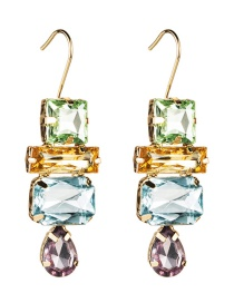 Fashion Color Multi-layer Water Drop Diamond Earrings
