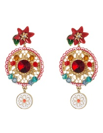 Fashion Color Multi-layer Hollow Round Alloy Diamond Acrylic Drip Flower Flower Earrings