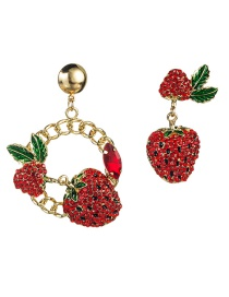 Fashion Red S925 Silver Needle Strawberry With Diamond Asymmetrical Earrings