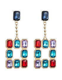 Fashion Color Square Hollow Alloy Stud Earrings